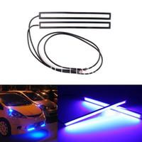 T8 22w SMD 3528 2pcs 17cm Blue COB Car LED Lights DRL Fog Daytime Driving Lamp Waterproof 12V 6W#55321