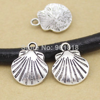 Fashion antique shell jewelry - 20pcs shell Charms Antique silver Plated Alloy shell Pendant Jewelry Findings F1065