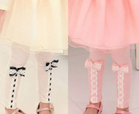 Leggings & Tights Girl Spring / Autumn Free shipping 5pc lot New Fashion Lace Bowknot Cotton Girls Leggings With Pocket Skirt Children Long Pants