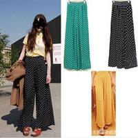 Pants Women Bootcut New Fashion Vintage Polka Dot Trousers Palazzo High Waist Pants Wide Leg Jqm