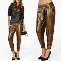 Pants Women Bootcut Womens Ladies Slim Stretch Elastic Waist golden shiny Harem Pants Pantyhose Trousers New 2014 Hot selling