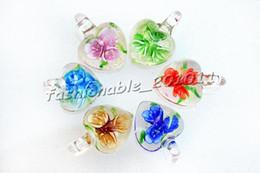 Heart Multi-Color Lampwork Murano Glass Flower 3D Pendants Necklaces Wholesale Retail FREE #pdt32