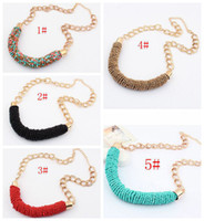 Wholesale MIC Bohemian European And American Fashion Color Beads Hand Make Necklace Female Models
