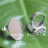 Connectors Yes tiancai FREE SHIPPING !!! wholesale copper plated silvery 18*25mm oval lace edge ring settings ring bases jewelry findings
