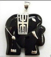 Beaded Necklaces solitaire pendants beautiful black jade elephant Pendant necklace