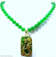 Beaded Necklaces jade necklace - Charming Green Jade KGP Dragon Pendant Necklace