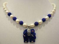 Beaded Necklaces solitaire pendants white pearl blue jade elephant pendant necklace