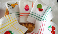 Wholesale Applique Kitchen Dishtowel Dishcloth Tea Towel Waffle White