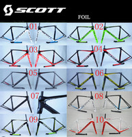 Wholesale SCOTT Foil Aerodynamics Road Bike Frame Full Carbon k Wave Bicycle Frameset Black And Red Frame With Seatpost Fork Clamp Headset