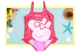 Wholesale Peppa Pig kids childrens Swimwear for girls SwimSuit baby Strap Spring kids Swiming suits S003