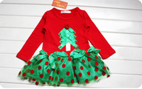 TuTu Summer Pleated Children's clothing wholesale In the summer of a female baby red Christmas dress with short sleeves The princess net veil