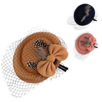 Wholesale NEW Arrival Fashion Hair Clips Lady Gauze Bowknot Mini Woolen Top Hat Fascinator Party Costume Fashion women s Hair Accessorie