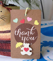 thank you cards - Thank you gift tag kraft hard paper card with D flower stickers mini thank you card with hang strap Thanksgiving Day vintage gift card