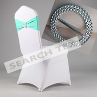 Wholesale Turquoise Color Lycra Spandex Chair Band With Buckle Used On Wedding Spandex Chair Cover