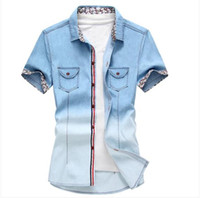 Wholesale Men s Fashion Jean Material Shirts Slim Fit Short Sleeve Men Gradient Denim Shirt With Short Sleeves Hot Sale