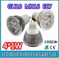 Haute puissance CREE 4W GU10 4x1W Dimmable / MR16 / E27 / E14 / GU5.3 Led Lampe Spotlight Ampoule LED Livraison gratuite