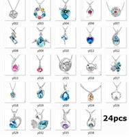 Wholesale 12pcs silver necklace Swarovski Elements Austrian crystal plating platinum necklace pendant Optional style otherwise random