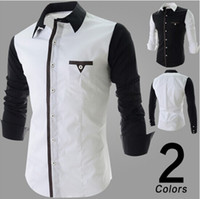 Wholesale 2014 new arrive Men s shirts slim mens shirts long sleeve men s t shirts split shirts white