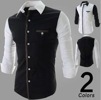 Wholesale 2014 new arrive Men s shirts slim mens shirts long sleeve men s t shirts split shirts black