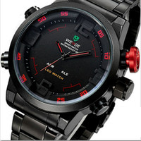 Wholesale Men Sport Watches Stainless Steel Brand Watch Dual Time Quartz LED Watch Men s Luxury Brand Military Watch Drop Shipping