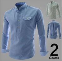 Men men's polo shirts - 2014 new arrive Men s shirts slim mens t shirts long sleeve men s t shirts split shirts blue
