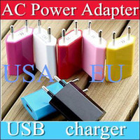 Direct Chargers For LG For US 10PCS AC Power Adapter US Plug USB Wall Travel Charger US EU Adapter for iphone 4 5 5S for Samsung Galaxy Cellphones Multi-color