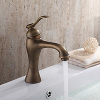 Wholesale e pak New Classic Antique Brass Bathroom Basin Sink Deck Mounted Faucet Vanity Vessel Single Handle Mixer Tap Faucet