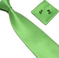 Wholesale NEW men s green ties sets Handkerchiefs Pocket square tower cravat neck tie set necktie hanky cufflinks soid color C