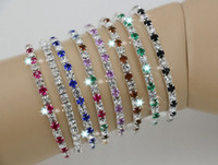 Wholesale Hot IN STOCK Colorful Spring Row Rhinestone Bracelet Tennis