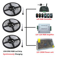 Wholesale Synchronously M SMD Waterproof IP65 RGB LED Strip Light WIFI RGB Controller A RGB Amplifier V W Power Supply