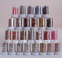 Decal 2D Metal 27 Rolls Mix colors Pattern Nail Art Transfer Foil Paper Set Nail Tip Decoration Sticker Decals Wholesale