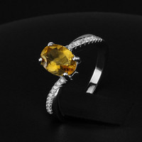 Crystal Round Silver Tendy 2014 Natural Citrine Yellow Ring for Lady #RI101282 Fashion 925 Sterling Silver Jewelry Women Rings