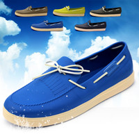 Wholesale 2014 new fashion candy color genuine leather boat shoes for men garden shoes candy boat shoes