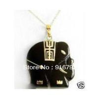 Pendant Necklaces Unisex Necklaces free shipping P&P *******Elegant Black Jade Elephant Pendent Necklace