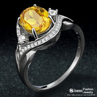 Cheap New 2014 Natural Citrine Ring for Women 925 Sterling Silver Wedding Lady Jewelry Rings With Box (Sliveren SI1315)
