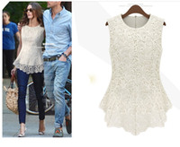 Wholesale Europe America fashion New Women s Flared Peplum Shirts Sleeveless Crochet Floral Tops Blouses Size S XL
