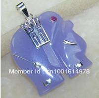 Beaded Necklaces Unisex Wedding free shipping *******Purple Jade Elephant Pendant necklace