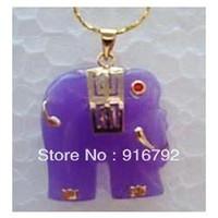 Beaded Necklaces Unisex Wedding free shipping *******Pretty purple jade Elephant necklace\pendant