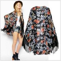 Wholesale 2014 women fashion Cape amp Poncho jackets ladies loose casual cardigan tassel floral print kimono Outerwear amp Coats women s clothing XD0006