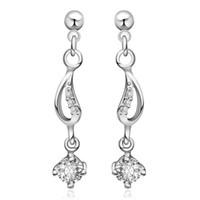 stud earring lot - 10Pairs New Arrival Silver Plated Bras Earrings Jewelry Fashion Gem Zircon E512
