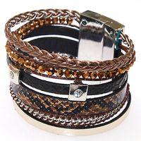 Celtic beaded leather wrap bracelet - New leather wrap Bracelet Brazilian Magnetic wrap Bracelet leather Bracelet Wrap Shamballa Magnetic Clasp Bracelet