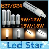 CE ROHS Nouveau 360 degrés G24 E27 Led Lampe PL Super Bright 9W 12W 15W 18W Lumens Haute Ampoule LED maïs lumière chaude / Cool White AC 110-240V