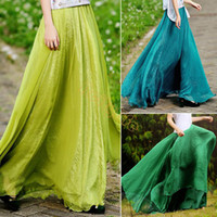 Rayon Above Knee Chiffon High Quality! Women Summer Skirt New Retro Lady Full Circle Boho Gauze Chiffon Long Skirt Pleated Long Maxi Skirt b7 SV002728