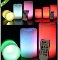 Wholesale Romantic Colour Changing Led remote control electronic candles Flameless Wax Candles wedding christmas party decoration