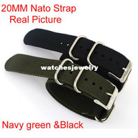 Wholesale High Quality New Navy green MM Nylon watchband with steel buckle NATO waterproof Straps sport watch band407