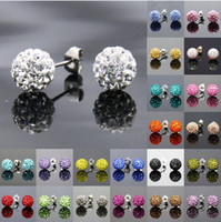 Wholesale 50pairs mm Silver Shining Crystal Disco Ball Bead Micro Pave Beads Dangle Stud Sparkle Shamballa Swarovski Crystal Ball Stud Earrings