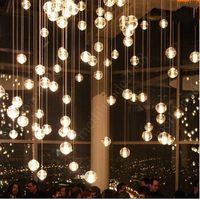 Modern chandeliers - Bocci LED Crystal Glass Ball Pendant Lamp Meteor Rain Ceiling Light Heads Stair Light Droplight Chandelier Lighting HSA0234