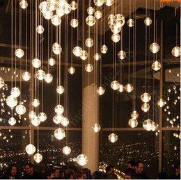 Wholesale Custom G4 LED Crystal Glass Ball Pendant Lamps Meteor Rain Ceiling Lights Meteoric Shower Stair Droplight Chandeliers Lighting AC110V V