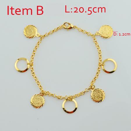 18k Gold Plated Muslim Islamic Charms Bracelets For Women ... Gold Charm Bracelets For Girls