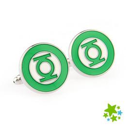 New Classic Superhero Green Lantern Men Cufflinks Business Shirt Sleeve Button Round Enamel cuff link Wedding Dress Party Gift
